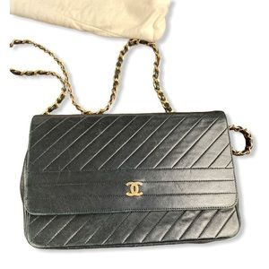 Chanel Classic Flap Quilted Chevron Black Lambskin